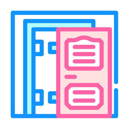 door installation color icon vector illustration color