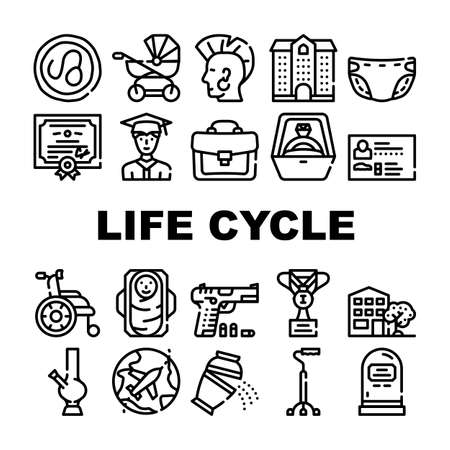 Life Cycle People Collection Icons Set Vector 向量圖像