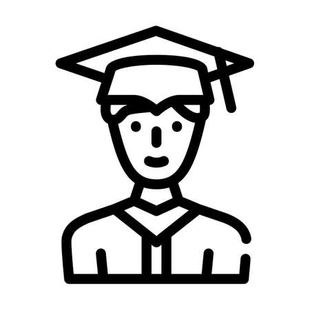 student graduate line icon vector illustration black