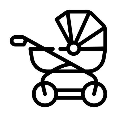 baby stroller line icon vector illustration black 向量圖像