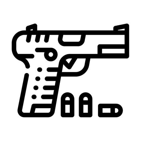 gun with cartridges line icon vector illustration