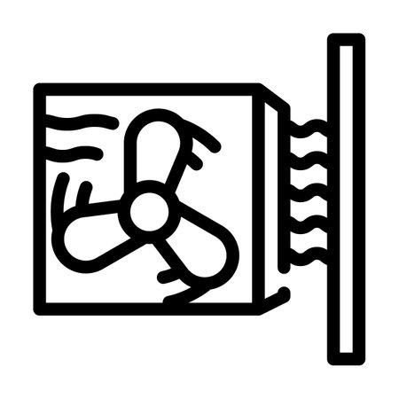 heat gun, fan heater line icon vector illustration