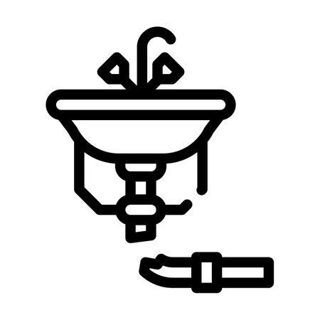 pipe repair line icon vector illustration black Иллюстрация