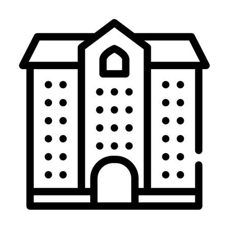 university building line icon vector illustration black 向量圖像