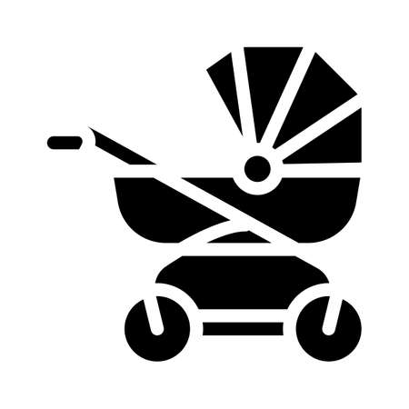 baby stroller glyph icon vector illustration black