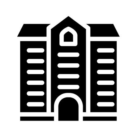 university building glyph icon vector illustration black 向量圖像