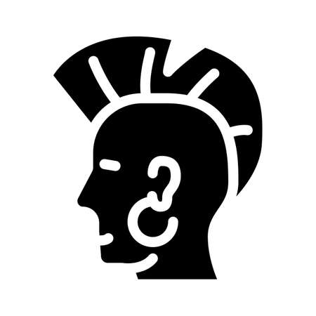 punk with mohawk glyph icon vector illustration 向量圖像