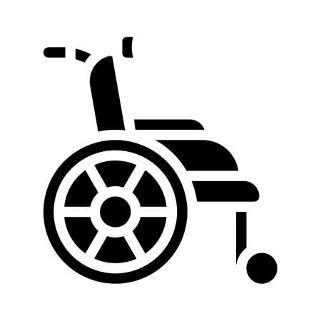 wheelchair for patient glyph icon vector illustration
