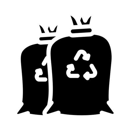 garbage bags glyph icon vector illustration black