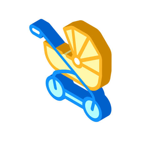 baby stroller isometric icon vector illustration color