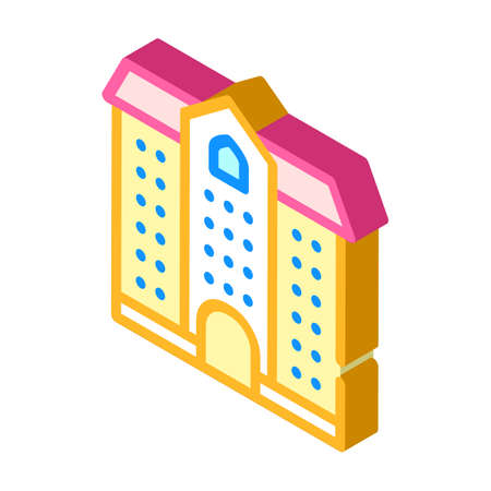 university building isometric icon vector illustration color 向量圖像