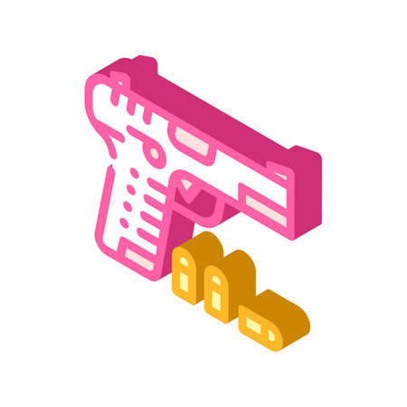 gun with cartridges isometric icon vector illustration