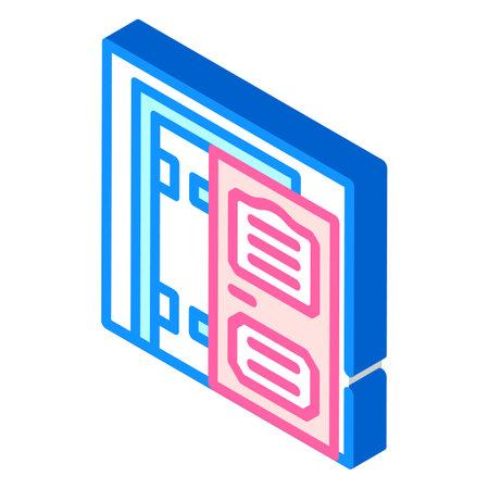 door installation isometric icon vector illustration color