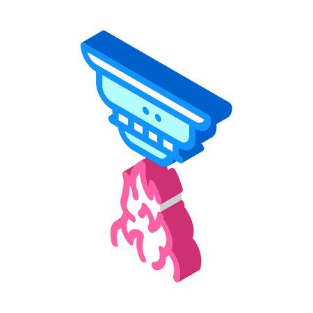 fire alarm system isometric icon vector illustration