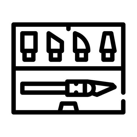 dummy knives set line icon vector illustration