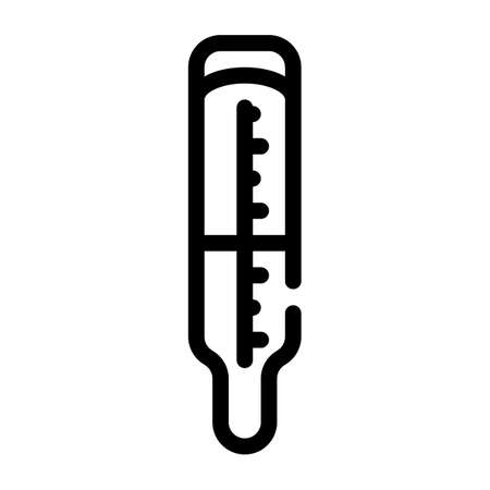 medical mercury thermometer line icon vector illustration