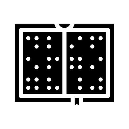 braille book glyph icon vector illustration black