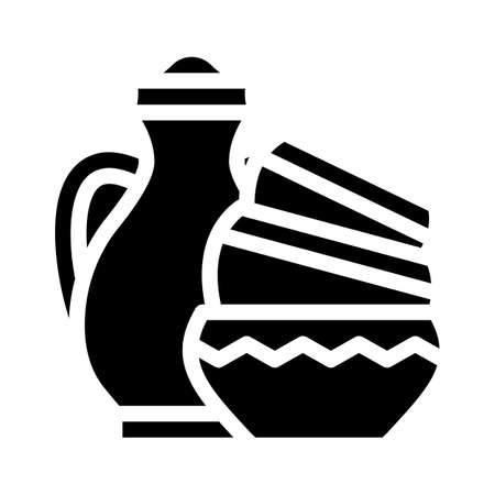 finished pottery products glyph icon vector illustration