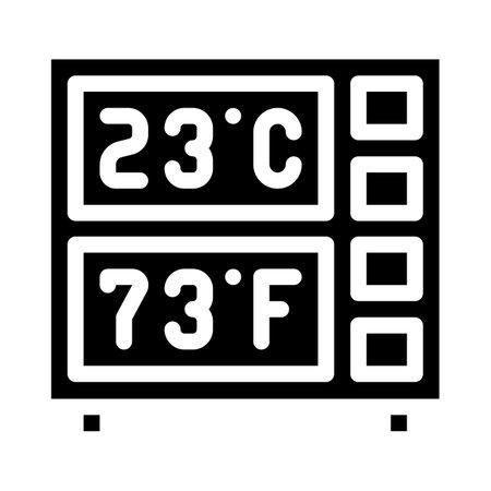 digital thermometer glyph icon vector illustration black