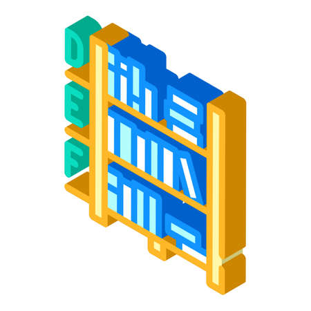 library shelves isometric icon vector illustration color