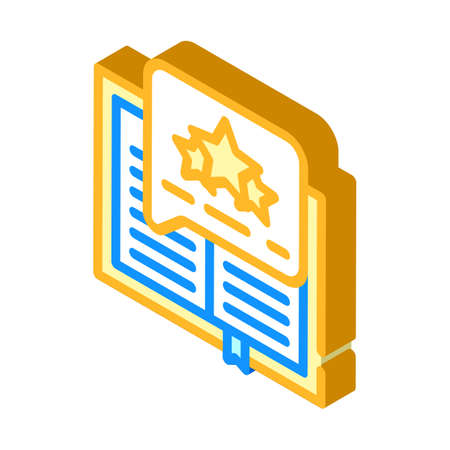 feedback review book isometric icon vector illustration
