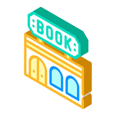 book shop building isometric icon vector illustration