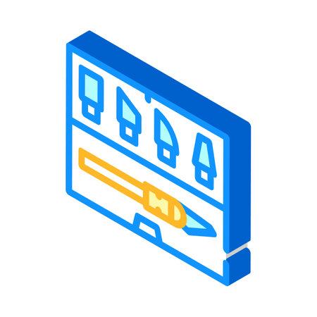 dummy knives set isometric icon vector illustration