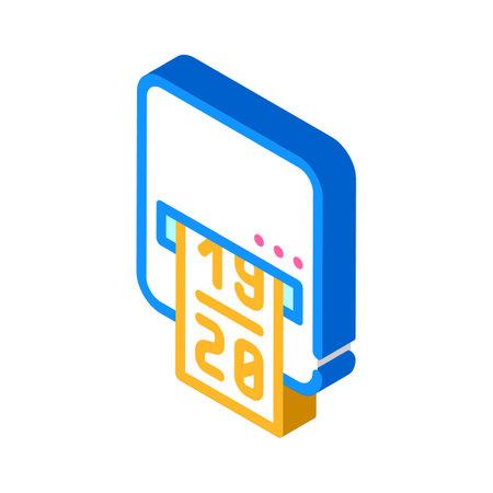 label printer device isometric icon vector illustration