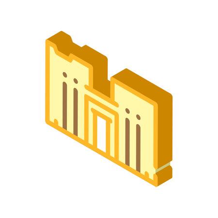 horus temple isometric icon vector illustration color