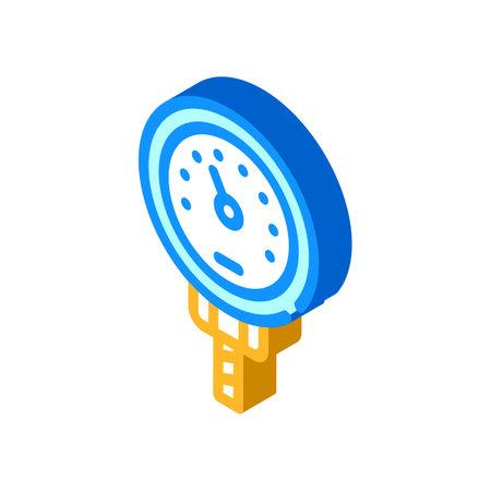 bimetallic thermometer isometric icon vector illustration color