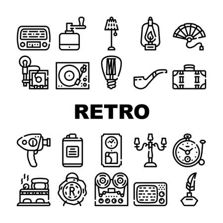 Retro Stuff Devices Collection Icons Set Vector