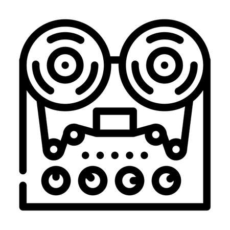 reel-to-reel tape player line icon vector illustration Ilustrace