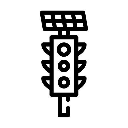 traffic lights with solar panel line icon vector illustration