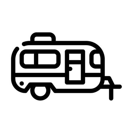 trailer mobile house line icon vector illustration Vettoriali