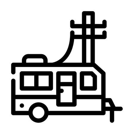 electricity connection mobile home line icon vector illustration