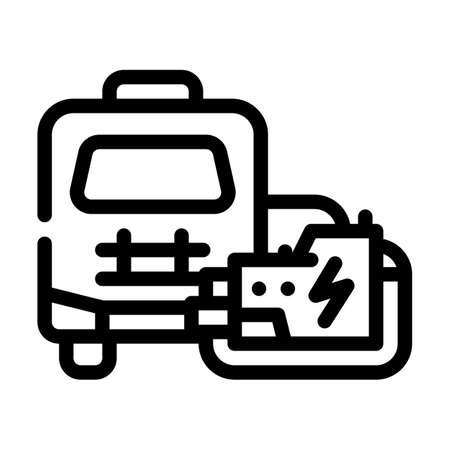 mobile house with generator line icon vector illustration