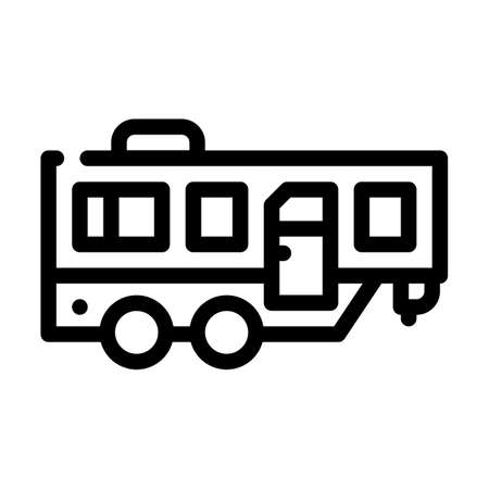trailer mobile home line icon vector illustration