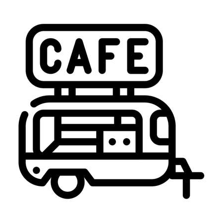 cafe trailer line icon vector illustration black Vettoriali