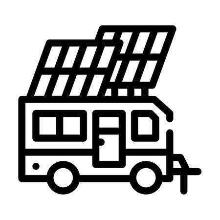 solar energy of mobile home line icon vector illustration