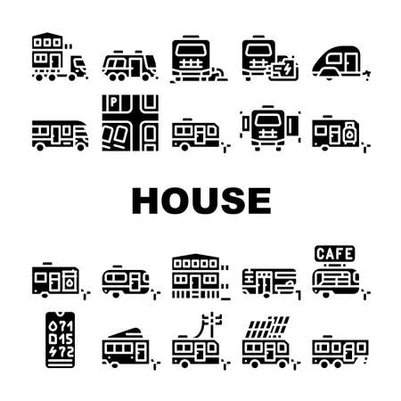 Modular House Trailer Collection Icons Set Vector Vettoriali