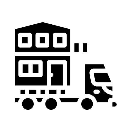 house building transportation glyph icon vector illustration