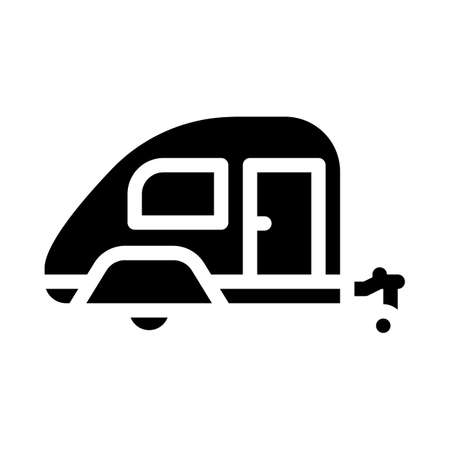 trailer home on wheels glyph icon vector illustration Vettoriali