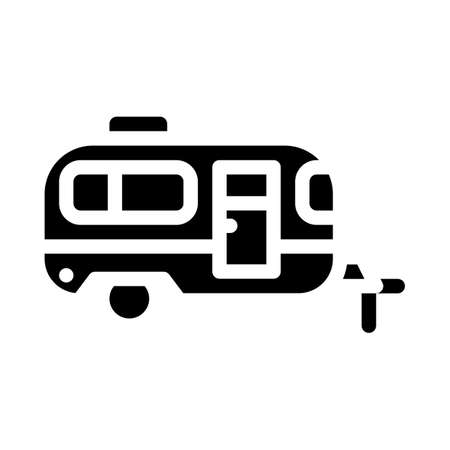 trailer mobile house glyph icon vector illustration