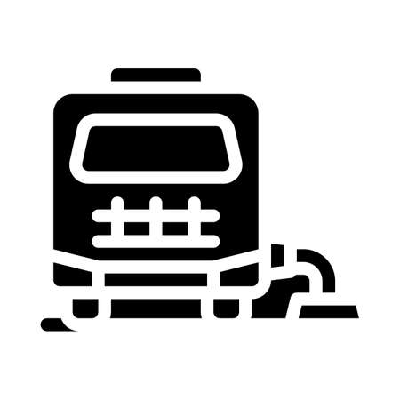 mobile home connection to cesspool glyph icon vector illustration Vettoriali