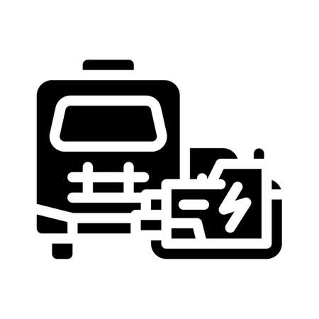 mobile house with generator glyph icon vector illustration