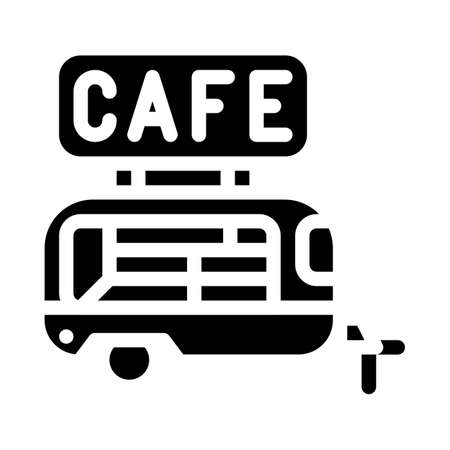 cafe trailer glyph icon vector illustration black
