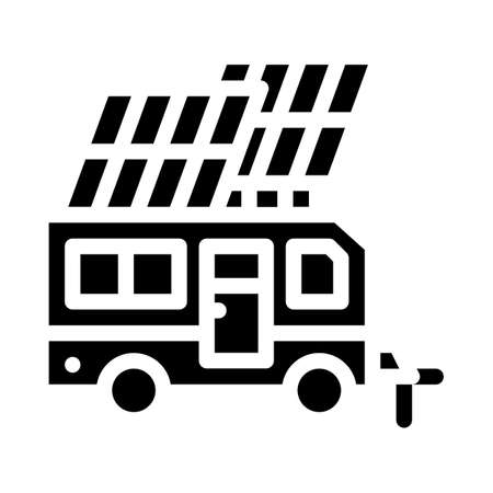 solar energy of mobile home glyph icon vector illustration