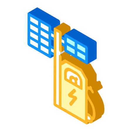 electrical charging station with solar panel isometric icon vector illustration Çizim