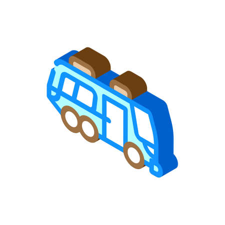 bus home on wheels isometric icon vector illustration Vettoriali