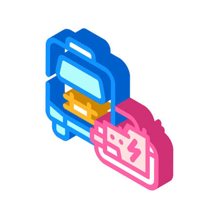 mobile house with generator isometric icon vector illustration Vettoriali